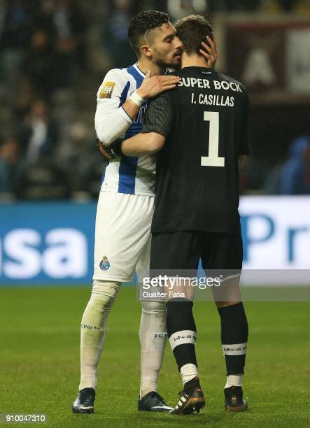 Porto defender Alex Telles from Brazil with FC Porto goalkeeper Iker Casillas from Spain during the penalty shootout during the Taca da Liga Semi...
