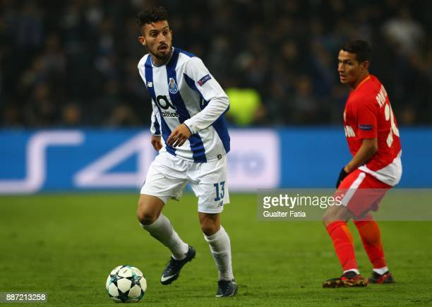 Porto defender Alex Telles from Brazil with Monaco forward Rony Lopes from Portugal in action during the UEFA Champions League match between FC Porto...