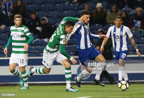 Porto defender Alex Telles from Brazil with Sporting CP midfielder Rodrigo Battaglia from Argentina in action during the Portuguese Cup Semi Final...