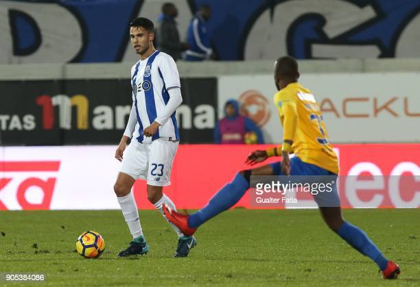 Porto defender Diego Reyes from Mexico in action during the Primeira Liga match between GD Estoril Praia and FC Porto at Estadio Antonio Coimbra da...