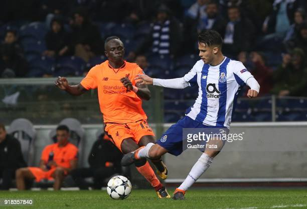 Porto defender Diego Reyes from Mexico with Liverpool forward Sadio Mane from Senegal in action during the UEFA Champions League Round of 16 First...