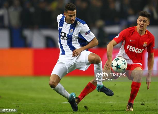 Porto defender Diego Reyes from Mexico with Monaco forward Guido Carrillo from Argentina in action during the UEFA Champions League match between FC...