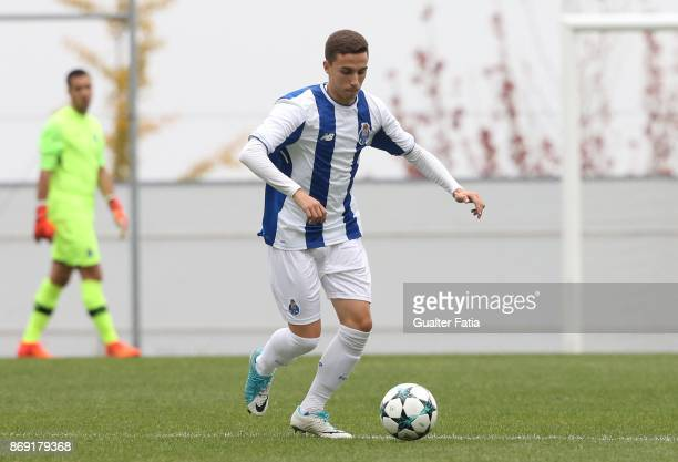 Porto defender Diogo Bessa in action during the UEFA Youth League match between FC Porto and RB Leipzig at Centro de Estagios do Olival on November 1...