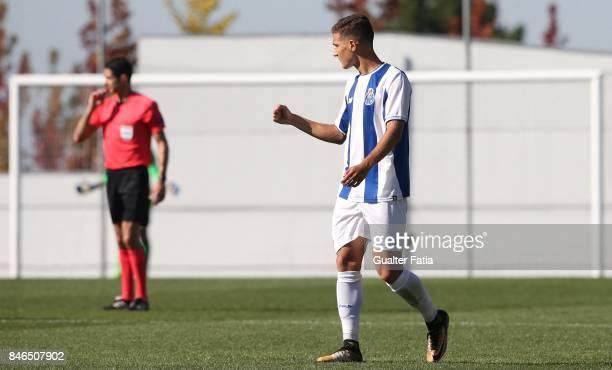 Porto defender Diogo Dalot celebrates after scoring a goal during the UEFA Youth League match between FC Porto and Besiktas JK at Centro de Estagios...