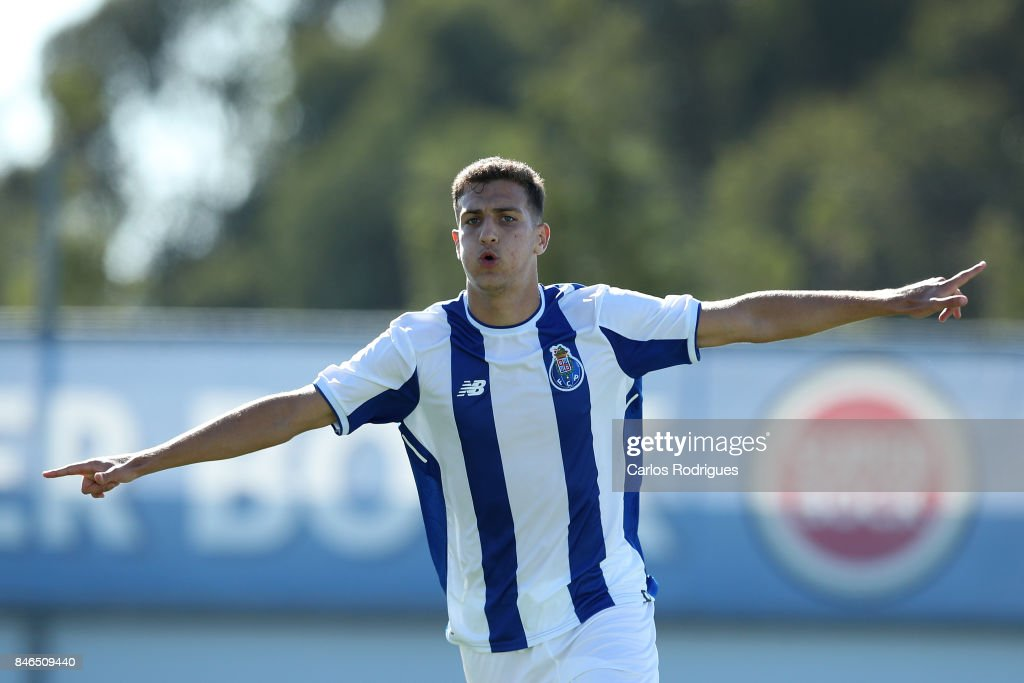 FC Porto defender Diogo Dalot celebrates scoring their fourth goal during the UEFA Youth Champions League match between FFC Porto and Besiktas JK at Centro de Treino do Olival on September 13, 2017 in Porto, Portugal.