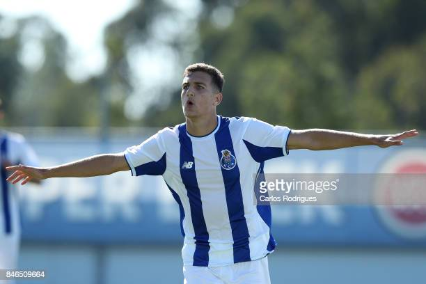 Porto defender Diogo Dalot celebrates scoring their fourth goal during the UEFA Youth Champions League match between FFC Porto and Besiktas JK at...