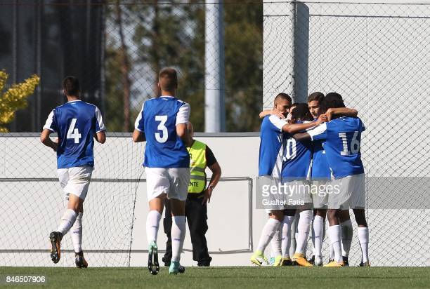 Porto defender Diogo Dalot celebrates with teammates after scoring a goal during the UEFA Youth League match between FC Porto and Besiktas JK at...