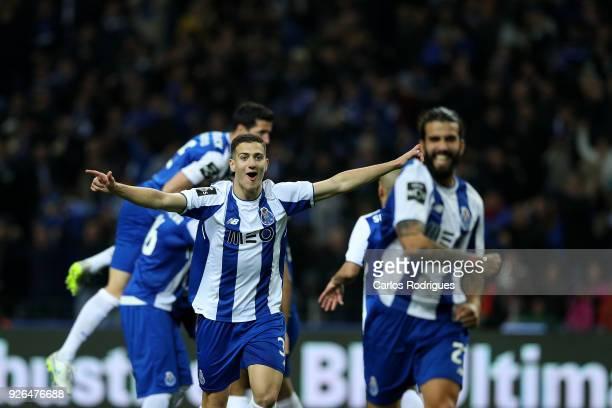 Porto defender Diogo Dalot from Portugal celebrates Porto second goal scored by FC Porto forward Yacine Brahimi from Algeria during the Portuguese...
