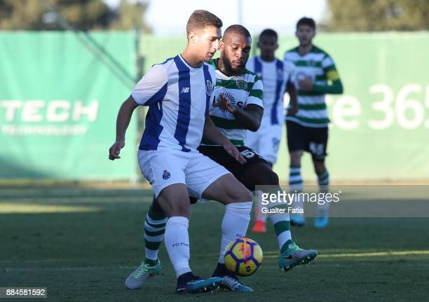 Porto defender Diogo Dalot from Portugal with Sporting CP B defender Mauro Riquicho in action during the Segunda Liga match between Sporting CP B and...