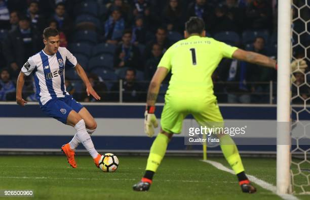 Porto defender Diogo Dalot from Portugal with Sporting CP goalkeeper Rui Patricio from Portugal in action during the Primeira Liga match between FC...