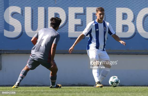Porto defender Diogo Dalot in action during the UEFA Youth League match between FC Porto and Besiktas JK at Centro de Estagios do Olival on September...