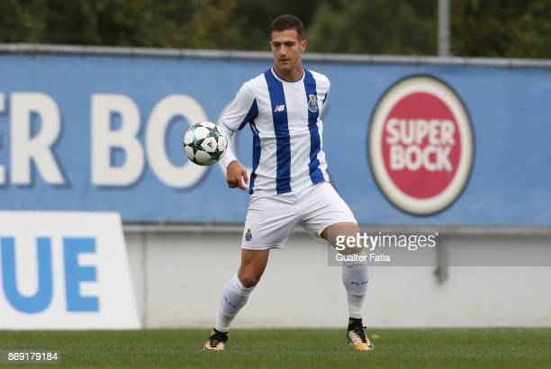 Porto defender Diogo Dalot in action during the UEFA Youth League match between FC Porto and RB Leipzig at Centro de Estagios do Olival on November 1...