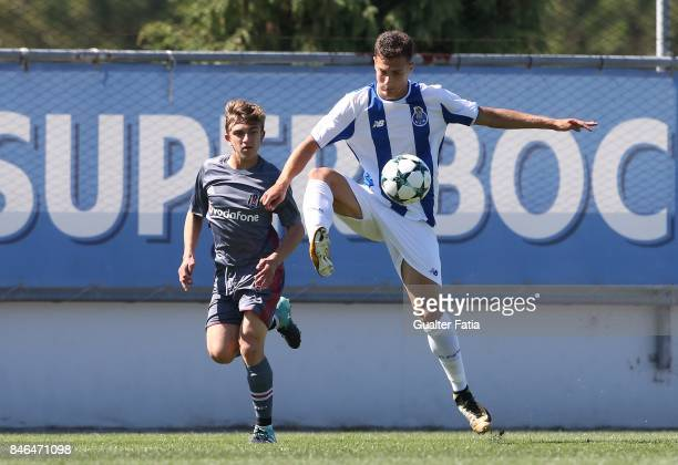 Porto defender Diogo Dalot with Besiktas defender Ridvan Yilmaz from Turkey in action during the UEFA Youth League match between FC Porto and...