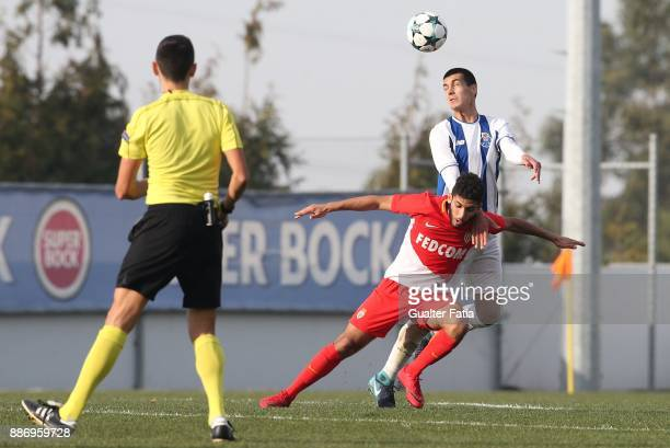 Porto defender Diogo Leite with Monaco forward Nail Alioui from France in action during the UEFA Youth League match between FC Porto and AS Monaco at...