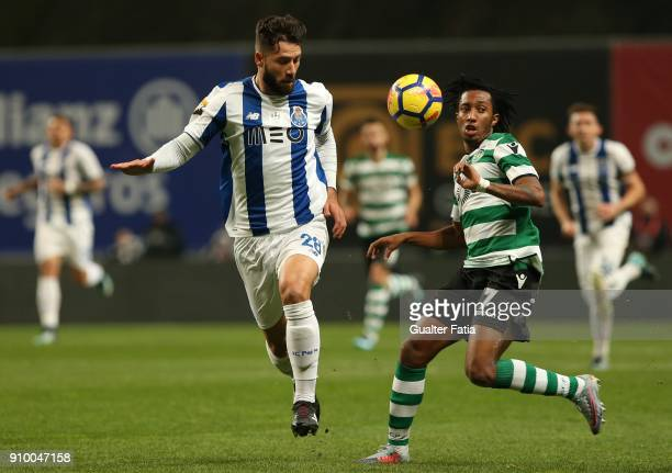 Porto defender Felipe from Brazil with Sporting CP forward Gelson Martins from Portugal in action during the Taca da Liga Semi Final match between...
