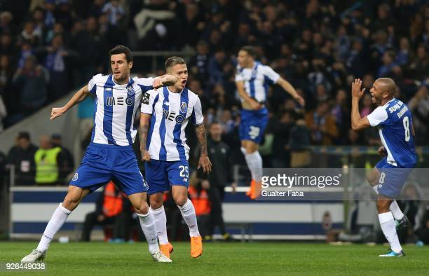 Porto defender Ivan Marcano from Spain celebrates with teammates after scoring a goal during the Primeira Liga match between FC Porto and Sporting CP...