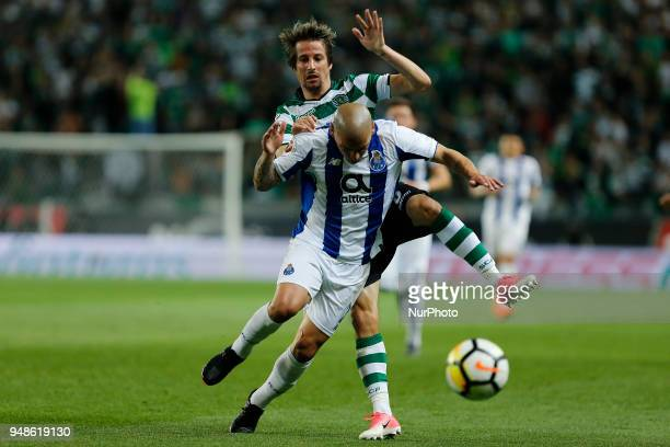 FC Porto Defender Maxi Pereira from Uruguay and Sporting CP Defender Fabio Coentrao from Portugal during the Sporting CP v FC Porto Portuguese Cup...