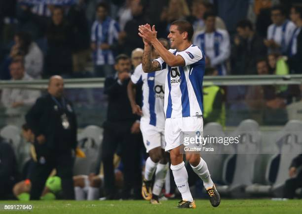 Porto defender Maxi Pereira from Uruguay celebrates after scoring a goal during the UEFA Champions League match between FC Porto and RB Leipzig at...