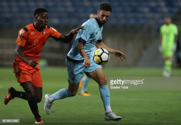Porto defender Miguel Layun from Mexico with Portimonense SC forward Wilson Manafa from Portugal in action during the PreSeason Friendly match...