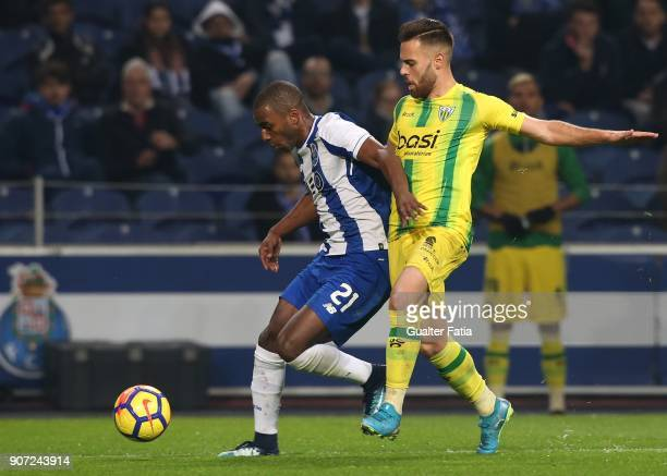 Porto defender Ricardo Pereira from Portugal with CD Tondela forward Miguel Cardoso from Portugal in action during the Primeira Liga match between FC...
