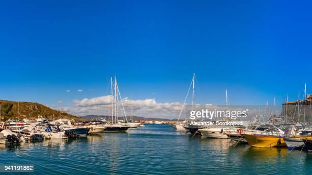 porto ercole, italy. landscape seaside harbor panoramic view, sunny weather - orbetello bildbanksfoton och bilder