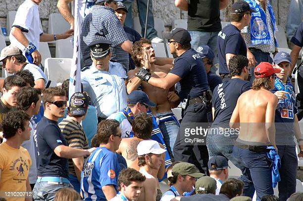 FC Porto fans clash with police as FC Port won the Portuguese Soccer Cup with a victory against Victoria de Setúbal for 10 in the National Stadium...