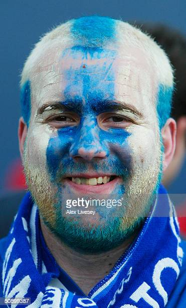 Porto fans prepare for during the UEFA Champions League Final match between AS Monaco and FC Porto at the AufSchake Arena on May 26 2004 in...