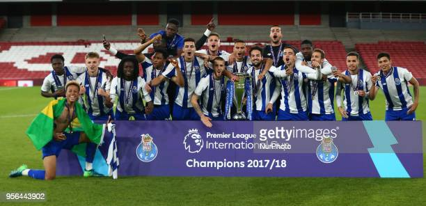Porto FC celebrate they win over Arsenal After Premier League International Cup Final match between Arsenal Under 23 against Porto FC at Emirates...