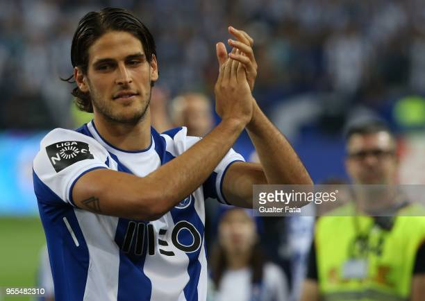 Porto forward Goncalo Paciencia from Portugal celebrates the league title at the end of the Primeira Liga match between FC Porto and CD Feirense at...