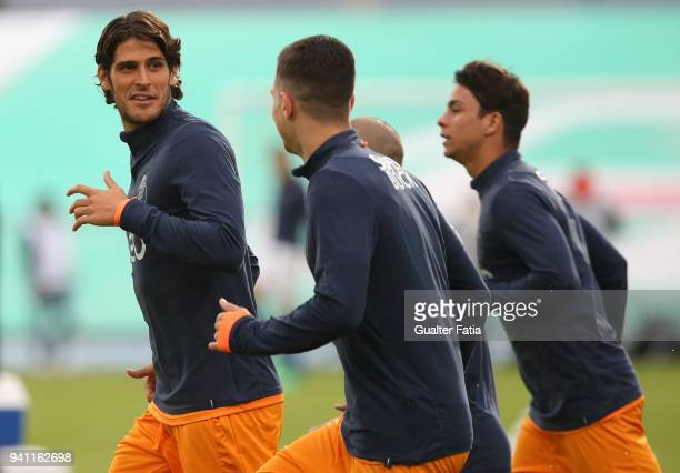 Porto forward Goncalo Paciencia from Portugal in action during warm up before the start of the Primeira Liga match between CF Os Belenenses and FC...