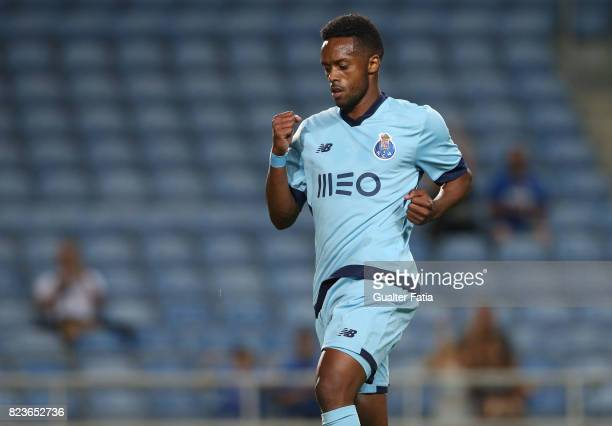 Porto forward Hernani Fortes from Portugal celebrates after scoring a goal during the PreSeason Friendly match between Portimonense SC and FC Porto...