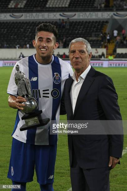 Porto forward Hernani Fortes from Portugal receive the trophy during the match between Vitoria Guimaraes v FC Porto match for the Guimaraes City...