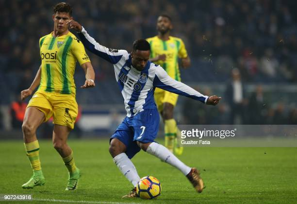 Porto forward Hernani Fortes from Portugal with CD Tondela defender Yordan Osorio from Venezuela in action during the Primeira Liga match between FC...