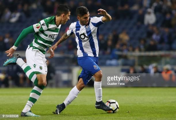 Porto forward Jesus Corona from Mexico with Sporting CP midfielder Rodrigo Battaglia from Argentina in action during the Portuguese Cup Semi Final...