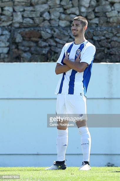 Porto forward Jorge Teixeira from Portugal celebrates scoring Porto's first goal during the match between FFC Porto v Besiktas JK for the UEFA Youth...