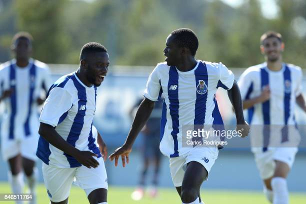 Porto forward Madi Queta celebrates scoring Porto's third goal during the UEFA Youth Champions League match between FFC Porto and Besiktas JK at...