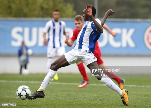Porto forward Madi Queta in action during the UEFA Youth League match between FC Porto and RB Leipzig at Centro de Estagios do Olival on November 1...