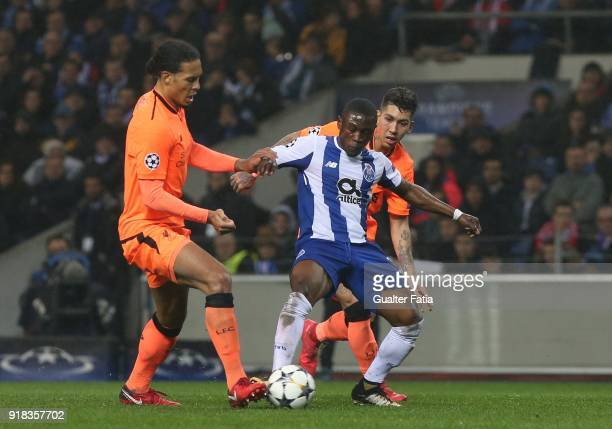 Porto forward Majeed Waris from Ghana with Liverpool forward Roberto Firmino from Brazil with Liverpool defender Virgil Van Djik from Netherland in...
