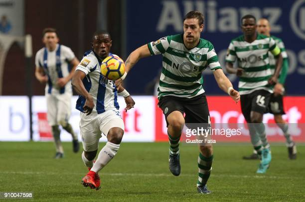 Porto forward Majeed Waris from Ghana with Sporting CP defender Sebastian Coates from Uruguay in action during the Taca da Liga Semi Final match...