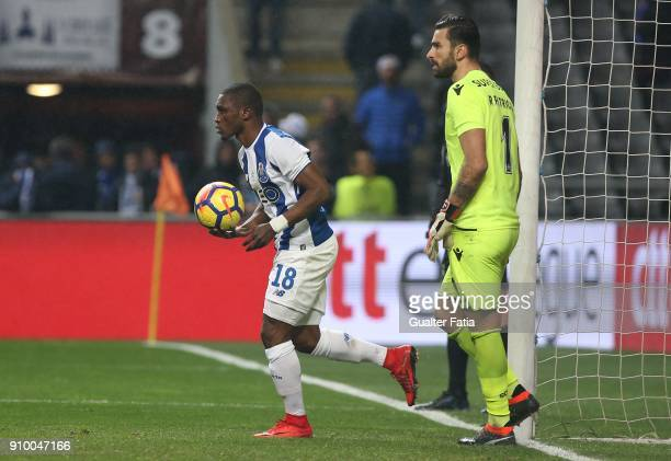 Porto forward Majeed Waris from Ghana with Sporting CP goalkeeper Rui Patricio from Portugal in the penalty shootout during the Taca da Liga Semi...