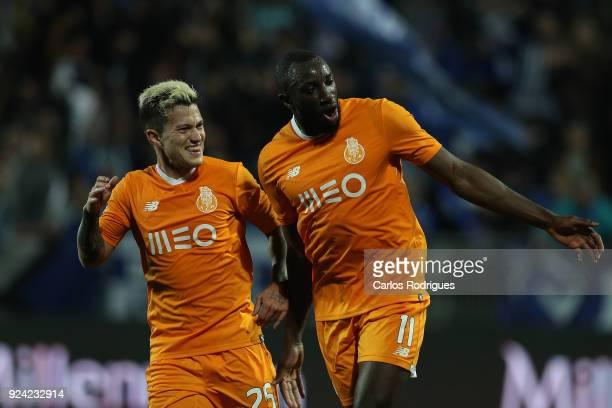 Porto forward Moussa Marega from Mali celebrates scoring Porto third goal with FC Porto forward Otavio from Brazil during the Primeira Liga match...