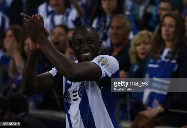 Porto forward Moussa Marega from Mali celebrates the league title at the end of the Primeira Liga match between FC Porto and CD Feirense at Estadio...