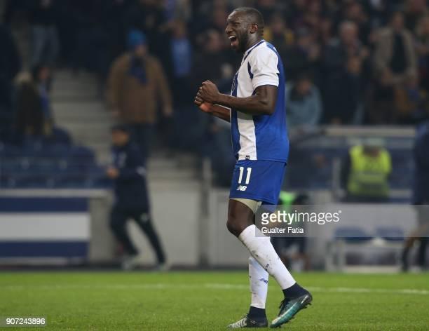 Porto forward Moussa Marega from Mali celebrates the victory at the end of the Primeira Liga match between FC Porto and CD Tondela at Estadio do...