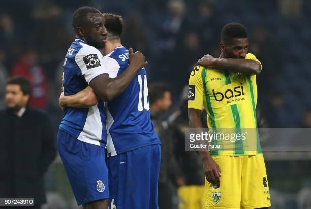 Porto forward Moussa Marega from Mali celebrates with teammate FC Porto midfielder Hector Herrera from Mexico the victory at the end of the Primeira...