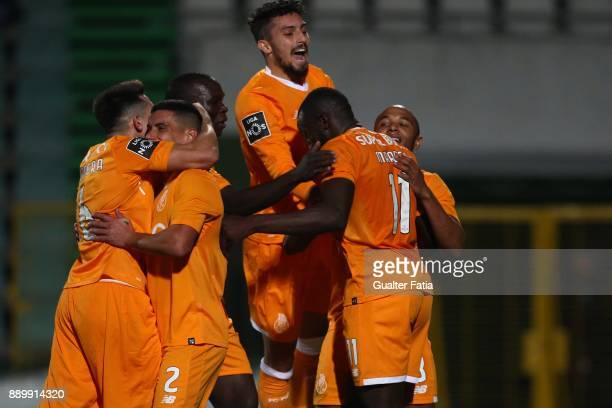 Porto forward Moussa Marega from Mali celebrates with teammates after scoring a goal during the Primeira Liga match between Vitoria Setubal and FC...