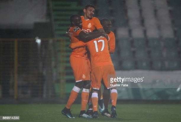 Porto forward Moussa Marega from Mali celebrates with teammates after scoring a goal after scoring a goal during the Primeira Liga match between...