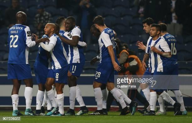 Porto forward Moussa Marega from Mali celebrates with teammates after scoring a goal during the Primeira Liga match between FC Porto and CD Tondela...
