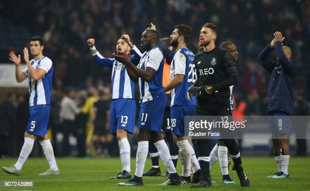 Porto forward Moussa Marega from Mali celebrates with teammates the victory at the end of the Primeira Liga match between FC Porto and CD Tondela at...