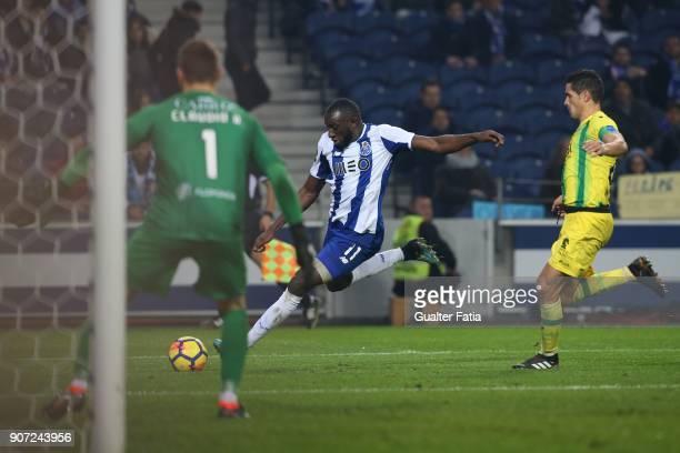 Porto forward Moussa Marega from Mali in action during the Primeira Liga match between FC Porto and CD Tondela at Estadio do Dragao on January 19...
