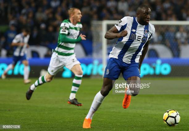 Porto forward Moussa Marega from Mali in action during the Primeira Liga match between FC Porto and Sporting CP at Estadio do Dragao on March 2 2018...
